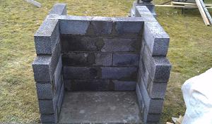 Пять выложенных рядов блоков, вид спереди