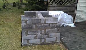 Пять выложенных рядов блоков, вид сбоку