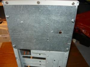 Корпус компьютера с площадкой для крепления выключателя и регулировочного сопративления