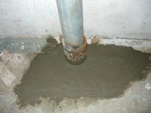 Ввод трубы пожарного водопровода в здание из подвала