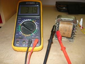 Измерение напряжения на выходах трансформатора