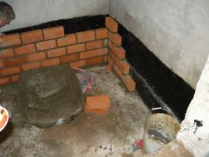 Пример строительства подиумадля погреба из кирпичей
