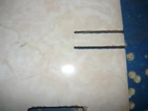 Вид на разрезанную плитку с лицевой стороны