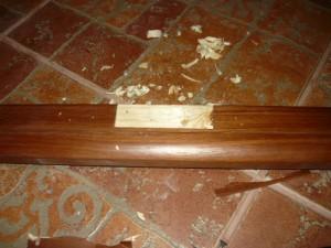 Выбранное посадочное место под завес на косяке дверной коробки