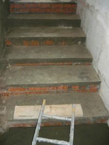 Вид на окончание строительства лестницы