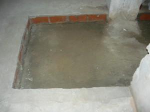 Вид на выбранный пол на толщину кирпича в подвале