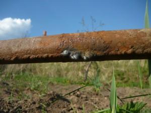 Прорыв водопроводной трубы в районе шва: