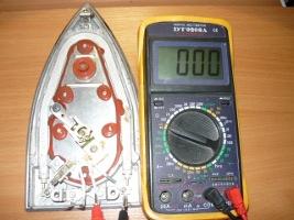 Проверка исправности электрической цепи регулятора температуры утюга
