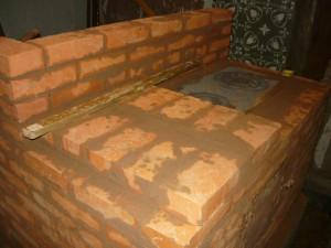 Вид печи с установленной плитой