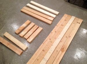 Комплект подготовленных брусков для монтажа верстака