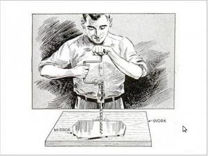Сверление вертикального отверстия вручную при помощи зеркала