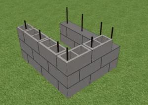 Укладка блоков третьего ряда: