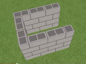 Заливка бетоном четвертого ряда блоков