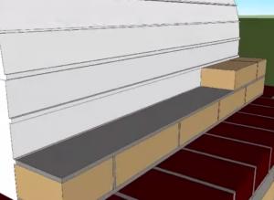 Начало кладки второго ряда вертикальной стенки топки печи