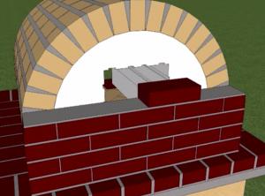 Начало кладки задней стенки красным кирпичем