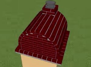 Вид на готовую печь для пиццы сзади